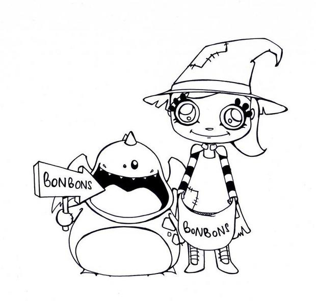 Halloween Candies Coloring Pages - Hellokids concernant Trick Or Treat Coloring Book: Trick Or