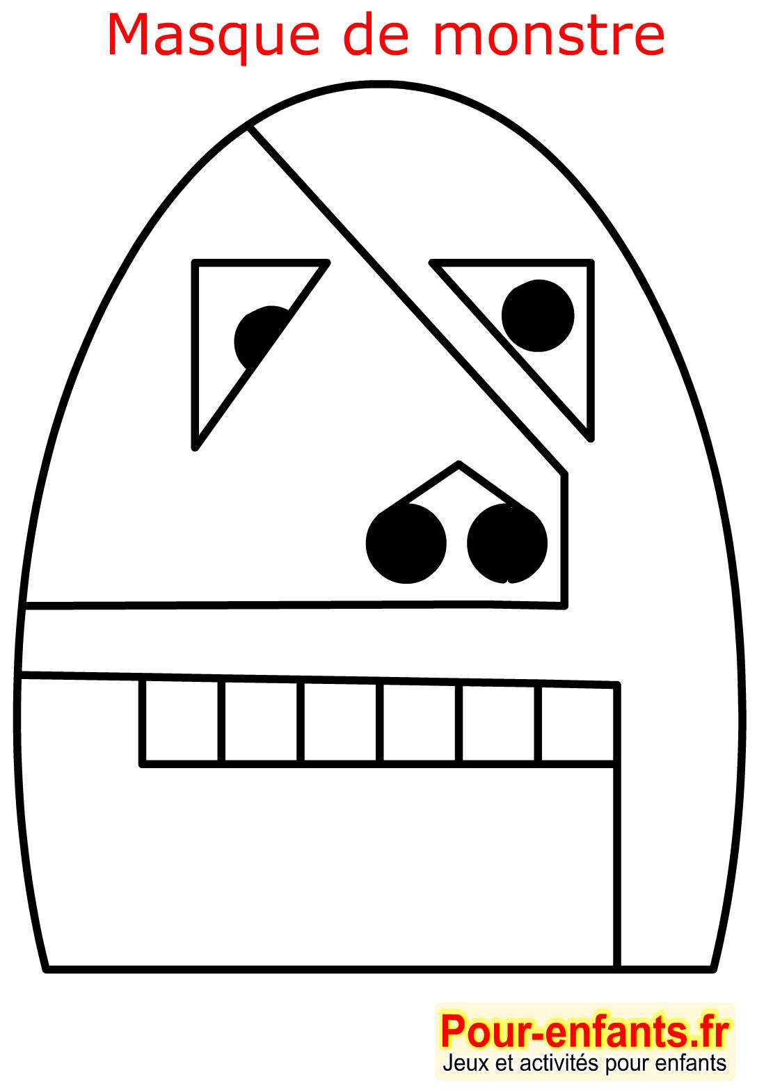 Halloween Coloriage Masque Bébé Monstre Enfant Monstres avec Fabrication Masque Halloween