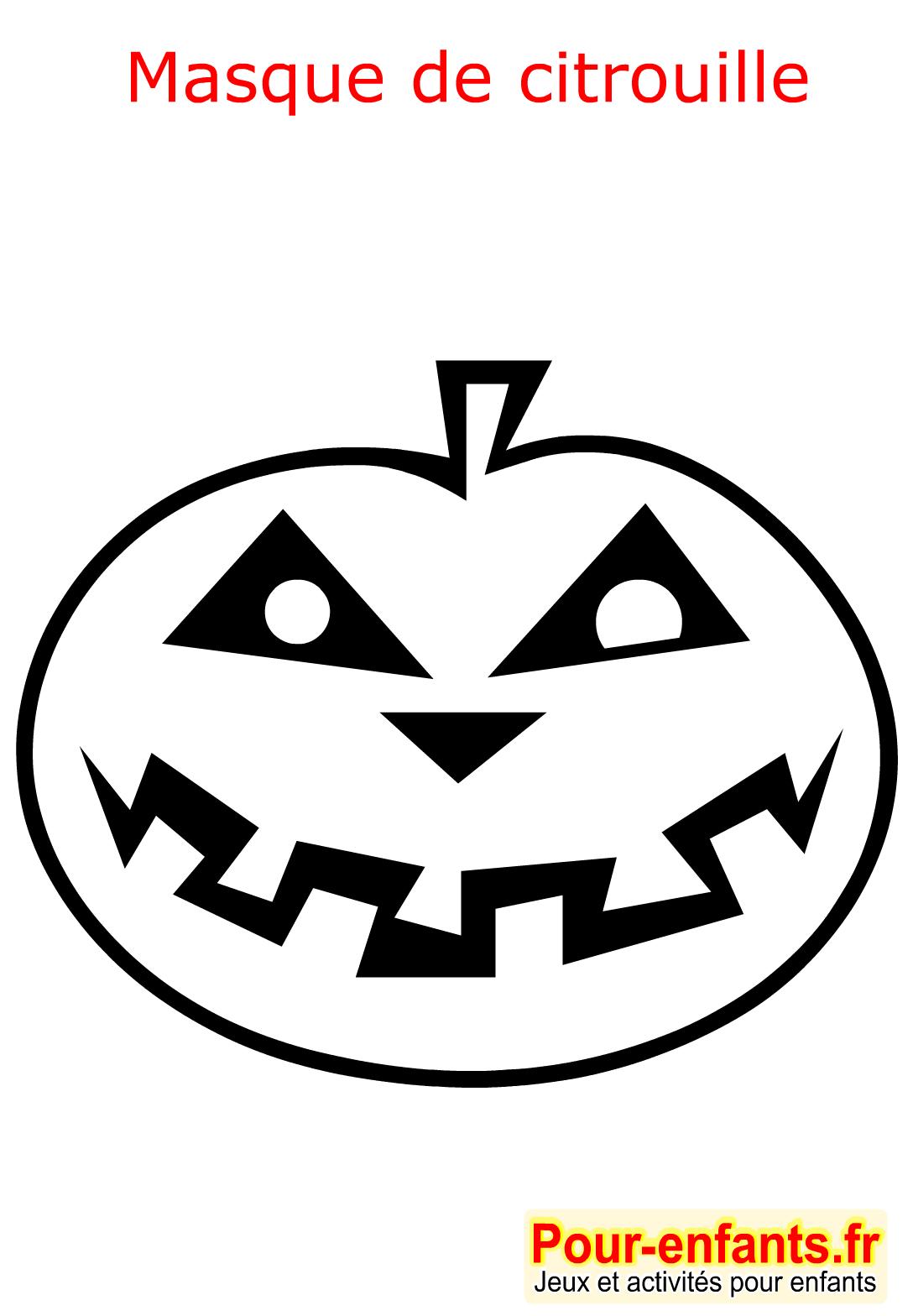 Halloween Coloriage Masque Citrouille Enfant Fabrication serapportantà Masque Halloween A Fabriquer