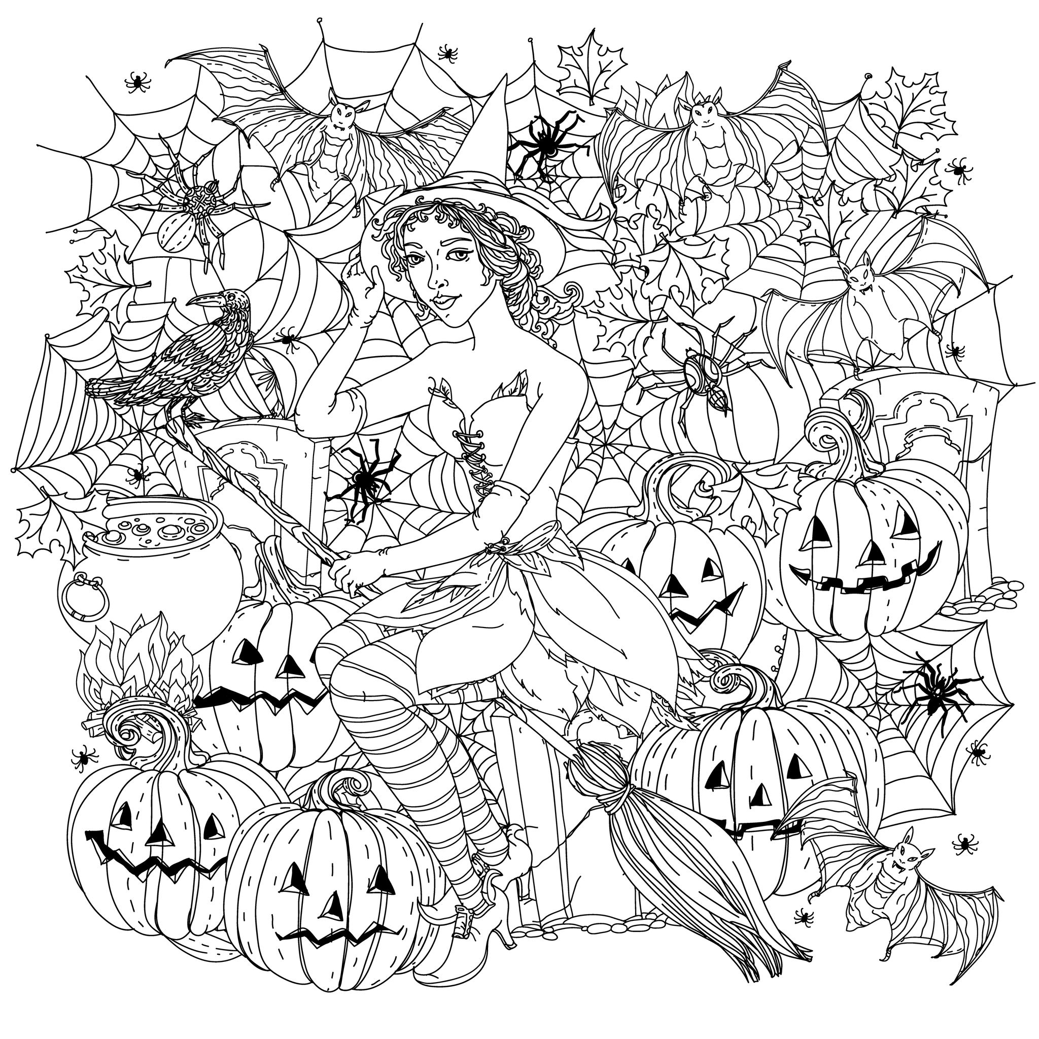 Halloween Witch With Pumpkins - Halloween Adult Coloring Pages concernant Coloriage Adult