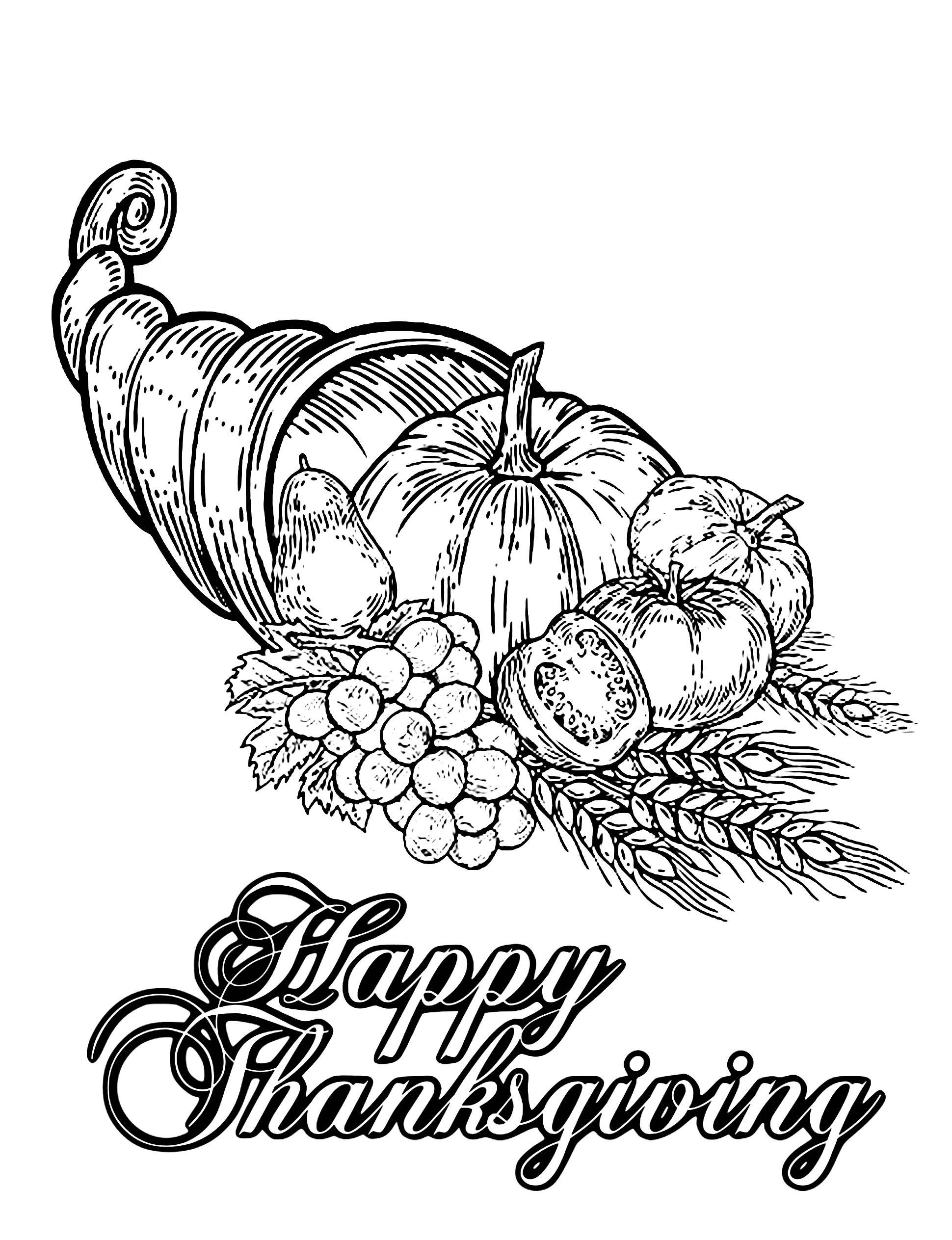 Happy Thanksgiving - Thanksgiving - Coloriages Difficiles Pour Adultes pour Happy Color Coloriage