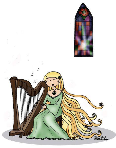 Harpiste - Dessins Miss Lilou avec Dessin Harpe
