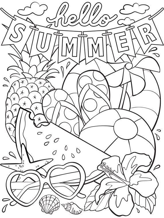 Hello Summer Coloring Page To Send With Letters To Our concernant Colloriage