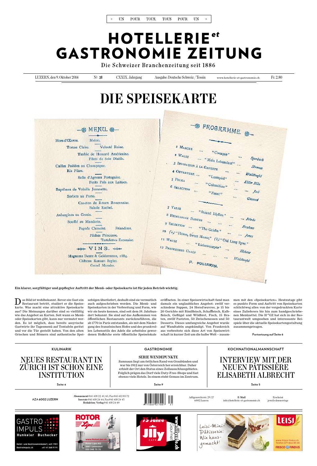 Hetg-Zeitung 31/2014 By Hotellerie_Gastronomie_Verlag concernant Po?Sie Vive Les Vacances