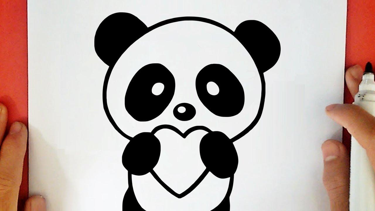 How To Draw A Cute Panda Holding A Heart - pour Dessin De Nounours Avec Un Coeur