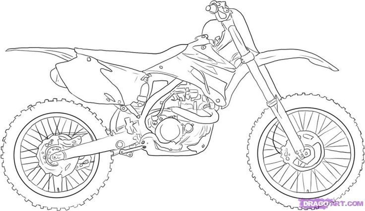 How To Draw A Dirt Bike Step 5 | Bike Drawing, Motorcycle à Moto Cross A Dessiner