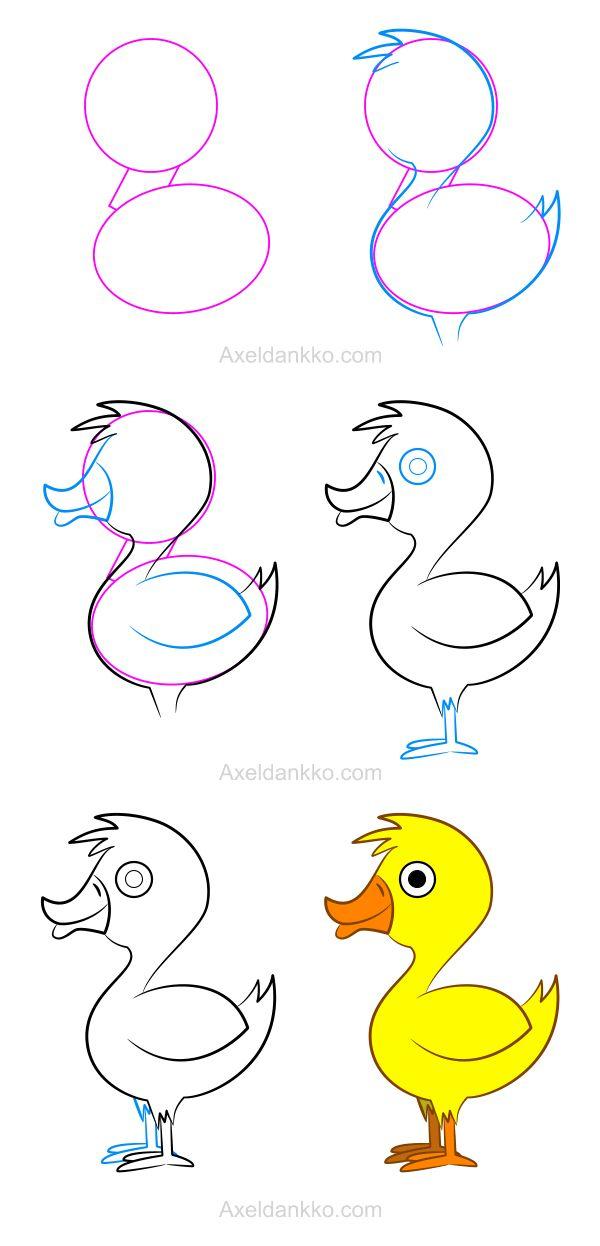 How To Draw A Duck - Comment Dessiner Un Canard | Art à Tag A Dessiner