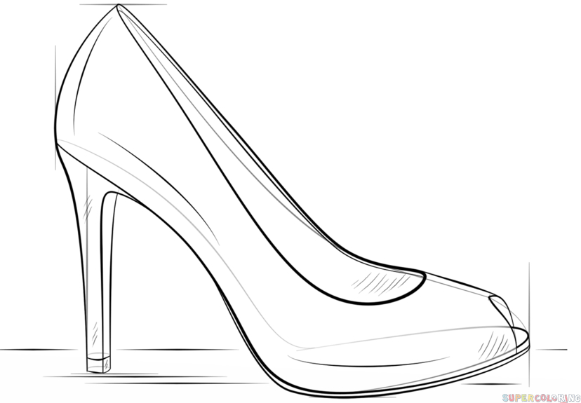 How To Draw A High Heel Shoe | Step By Step Drawing dedans Dessin De Chaussure A Talon