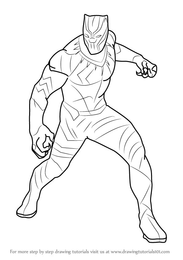 How To Draw Black Panther From Captain America Civil War destiné Coloriage Avengers A Imprimer