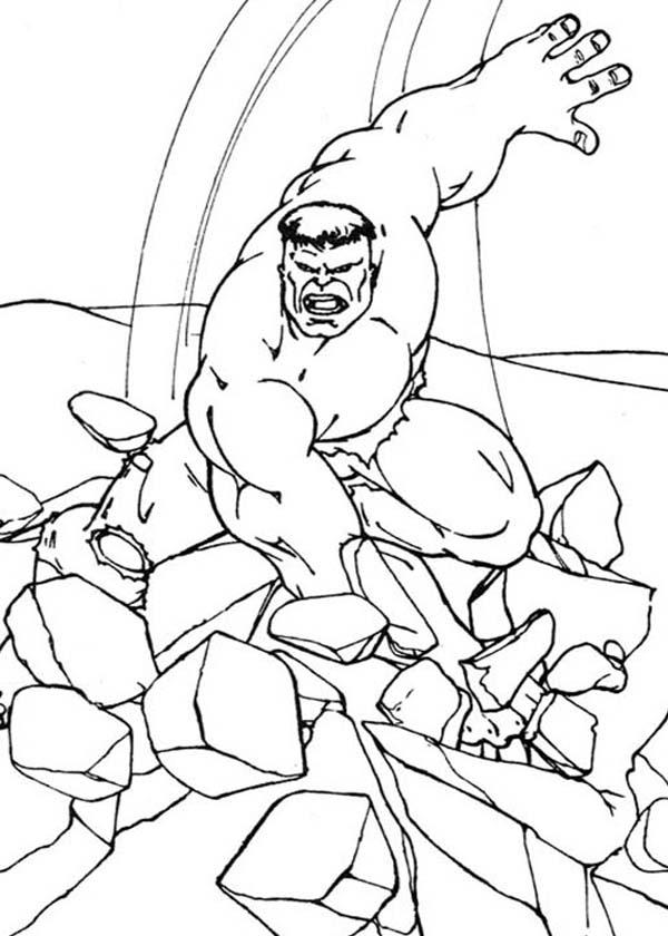 Hulk Smashing Floor Coloring Page - Netart concernant Coloriage Hulk