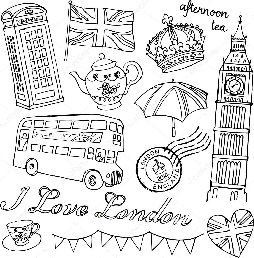 I Love London Icons — Stock Vector © Omw #64251627 tout Coloriage Angleterre