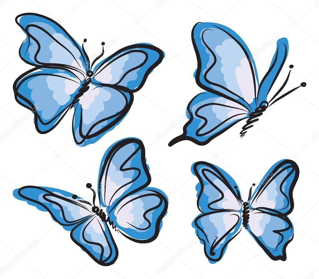 Illustration De Papillon Bleu Volant — Image Vectorielle à Dessin Papillon À Découper