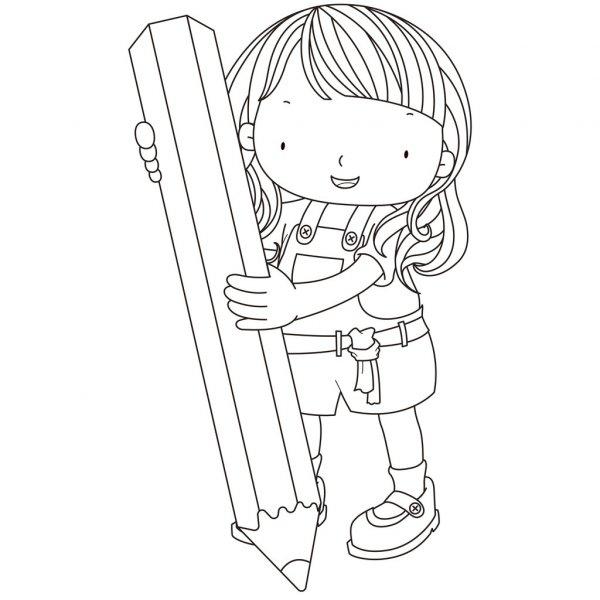 Illustration D'Une Jeune Fille Avec Un Crayon À Colorier serapportantà Crayon Coloriage