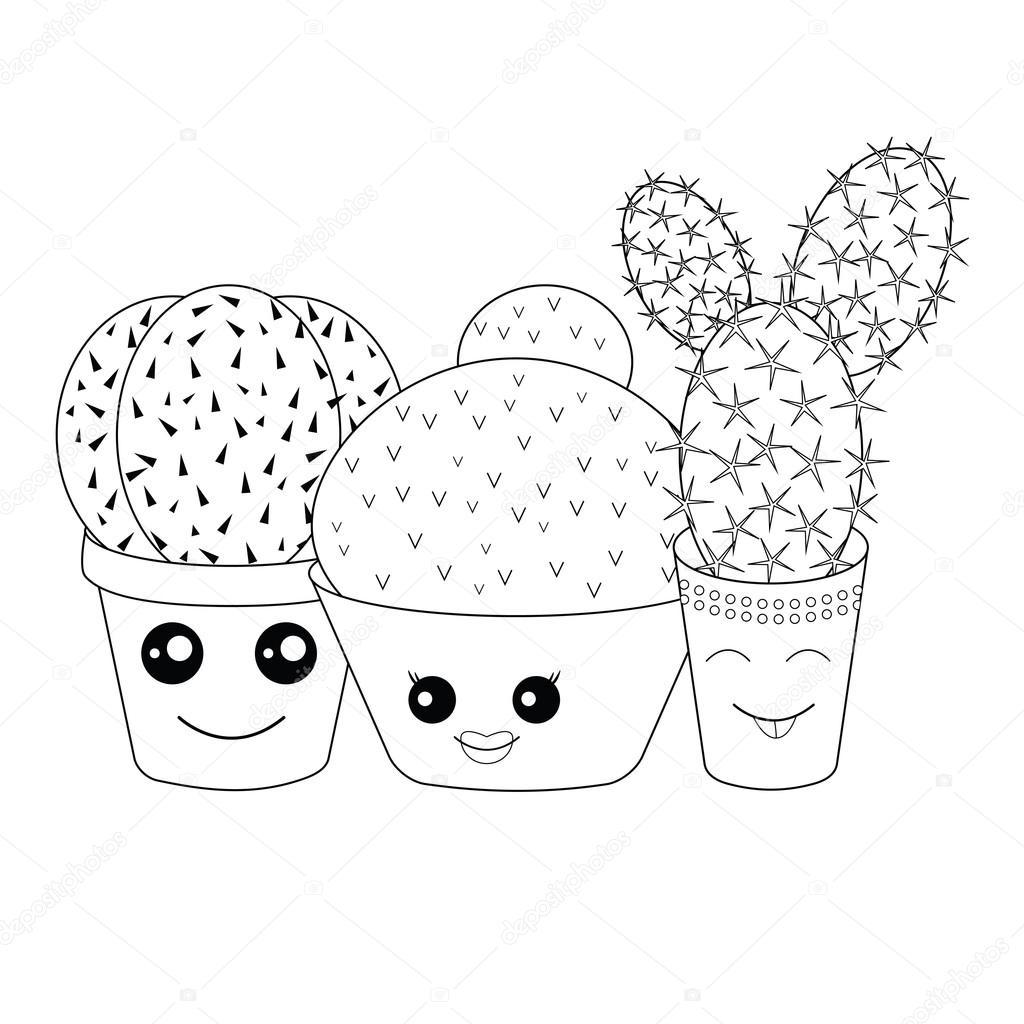 Illustration Vectorielle D'Une Icône De L'Alimentation pour Coloriage Cactus A Imprimer