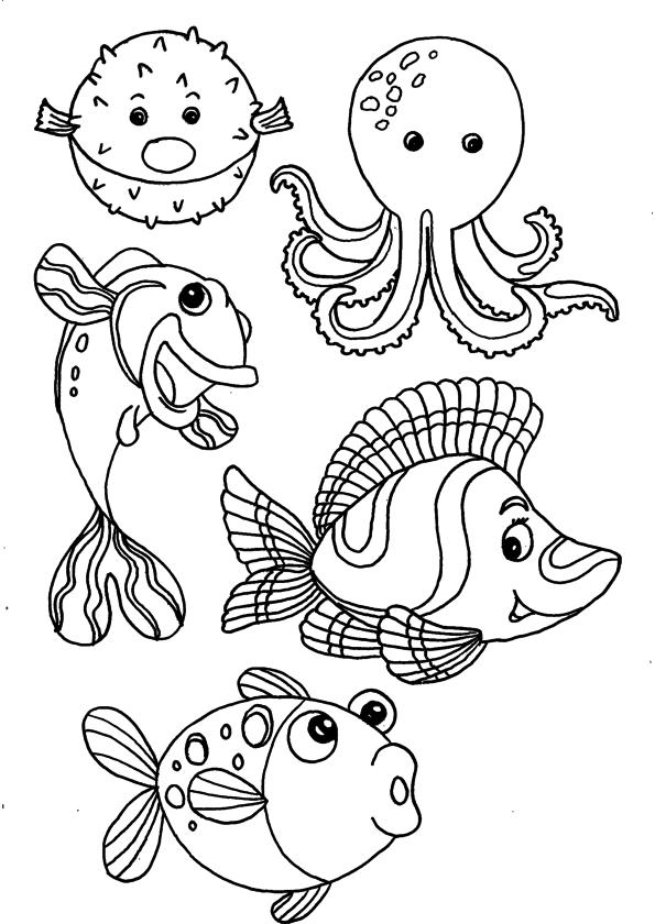 Image Animaux Marins Imprimer destiné Coloriage Animaux De La Mer A Imprimer
