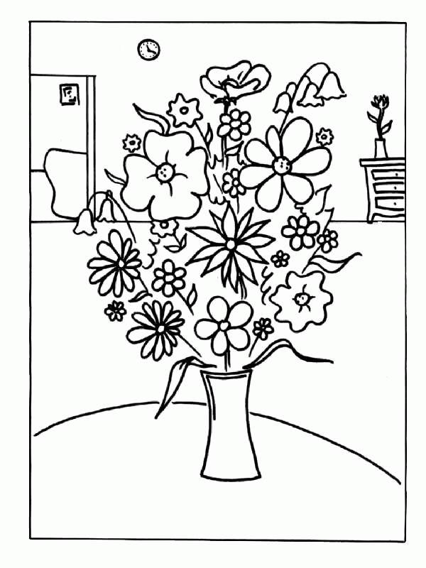 Imprime Le Dessin À Colorier De Fleur intérieur Coloriage Bouquet De Fleurs A Imprimer