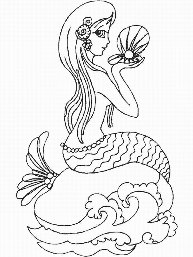 Imprime Le Dessin À Colorier De Sirène serapportantà Coloriage De Sirène A Imprimer