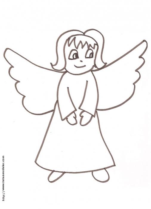 Imprimer Le Coloriage D'Un Petit Ange - Tête À Modeler avec Dessin Ange De Noel
