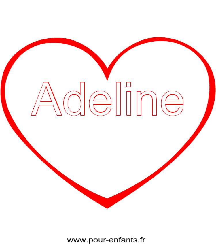 Imprimer Le Prénom Adeline Coloriage Dans Un Coeur tout Dessin De Nounours Avec Un Coeur
