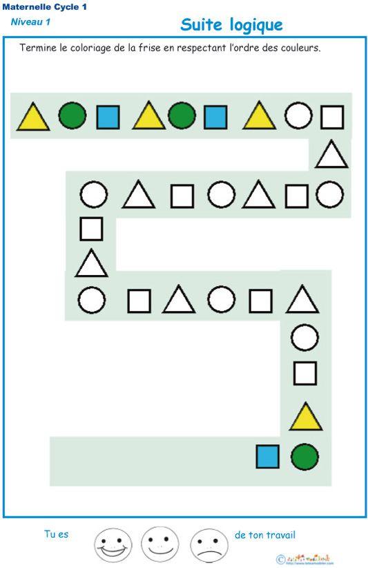 Imprimer L'Exercice 2 : Suite Logique Pour Les Enfants De dedans Exercices Coloriage Grande Section Imprimer