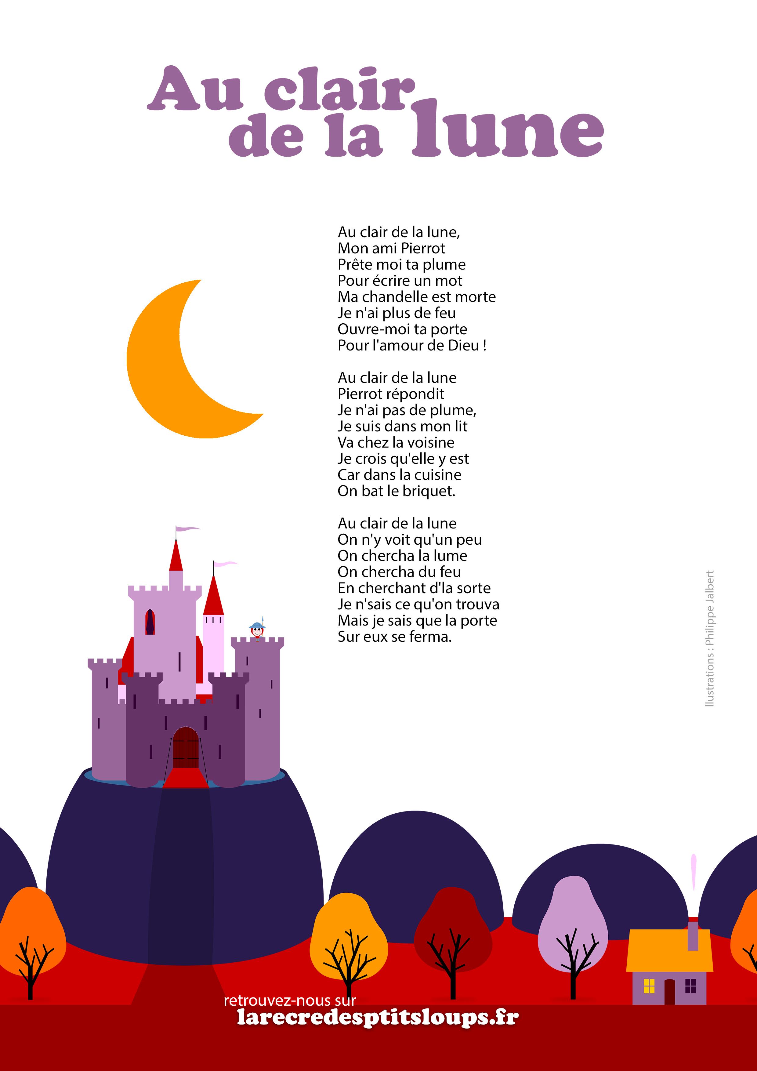 Imprimez Les Paroles De La Comptine Au Clair De La Lune destiné Comptine Parole Laine Des Moutons