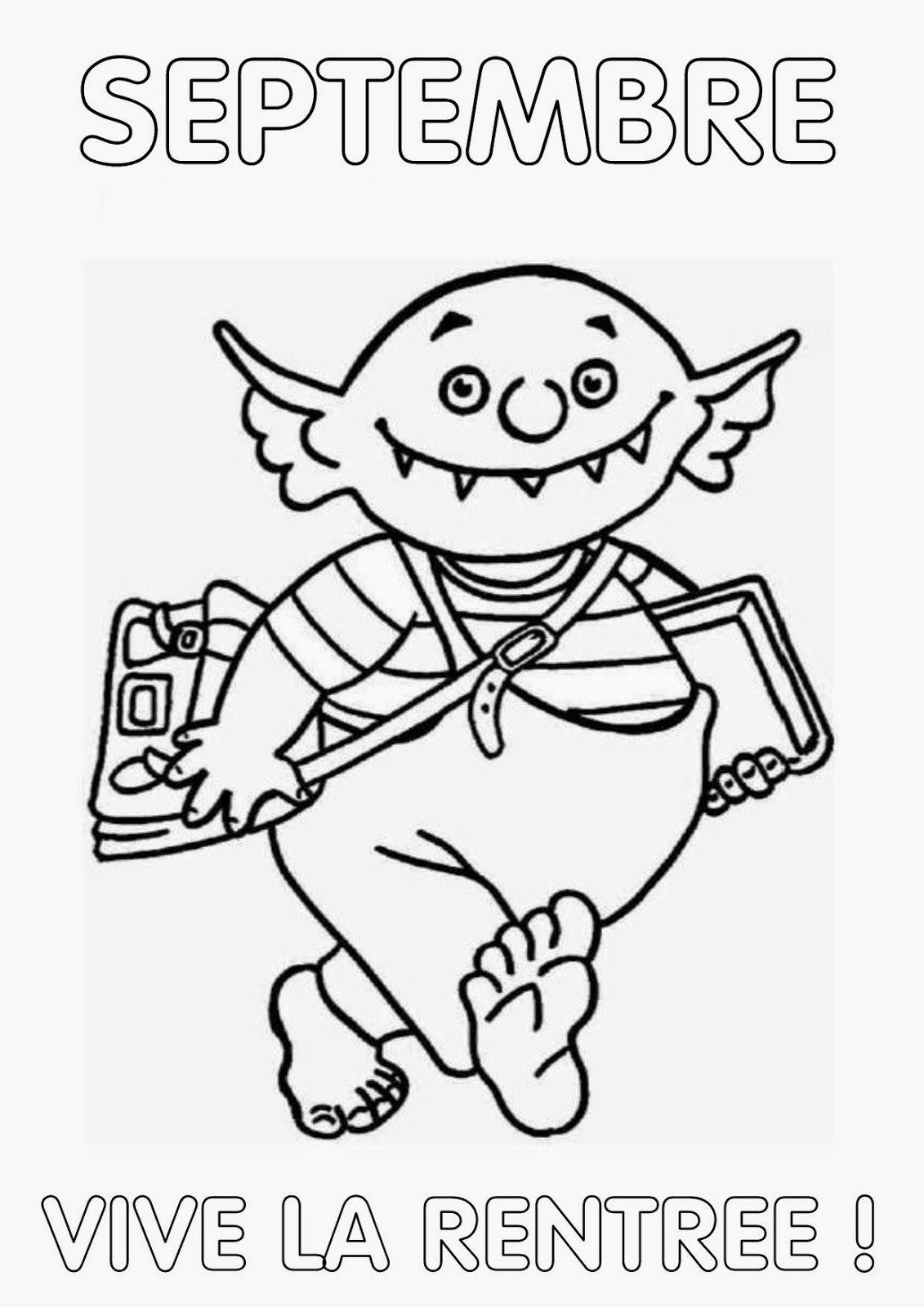 Intercalaire Classeur Ms La Rentrée | Petit Ogre à Coloriage Septembre