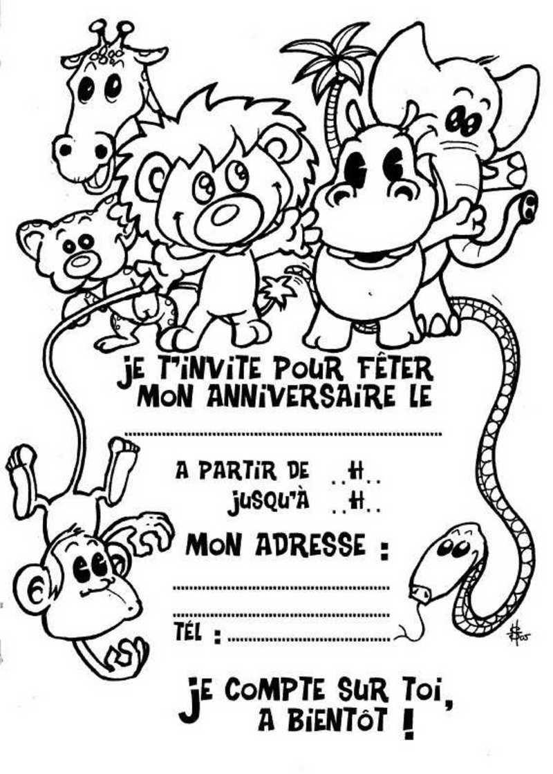 Invitations A Imprimer encequiconcerne Coloriage D Annimaux