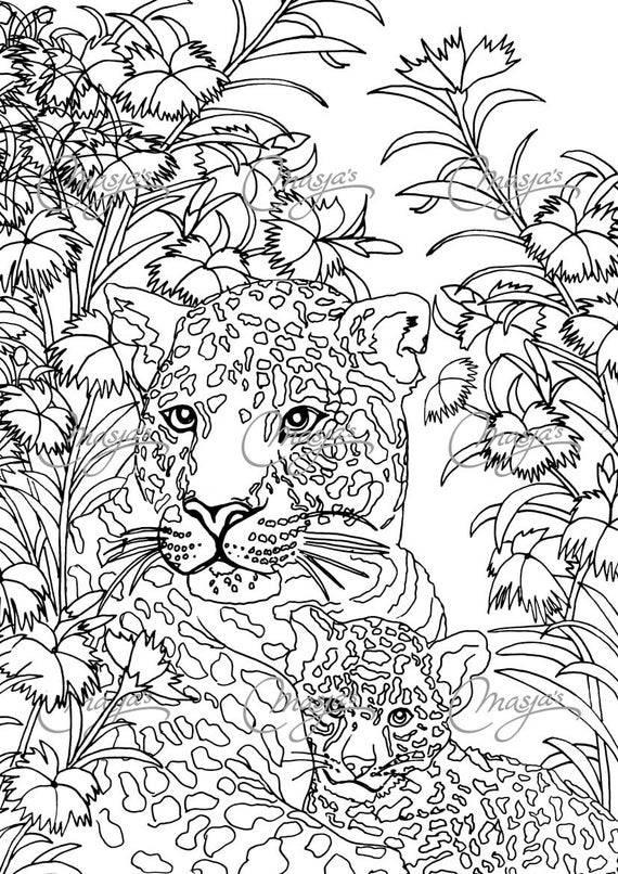 Items Similar To Masja'S Leopards Coloring Page On Etsy encequiconcerne Coloriage Panthere