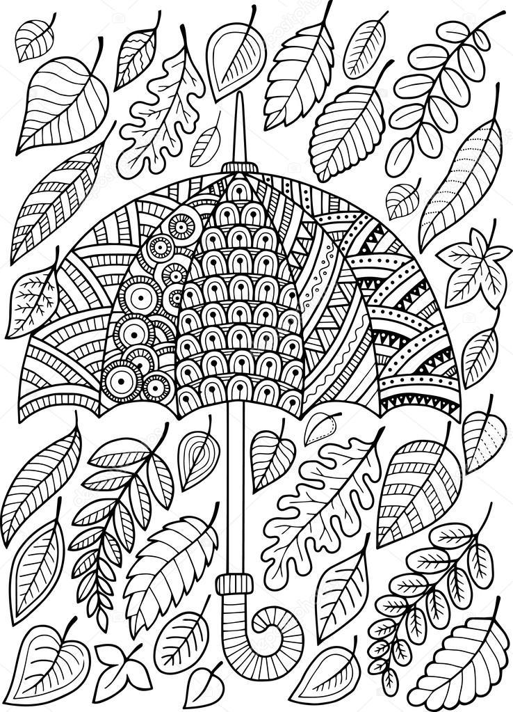 J'Ai Aimer La Pluie D'Automne. Livre De Coloriage Pour Adulte — Image Vectorielle Natasha-Tpr intérieur Coloriages Pour Adultes