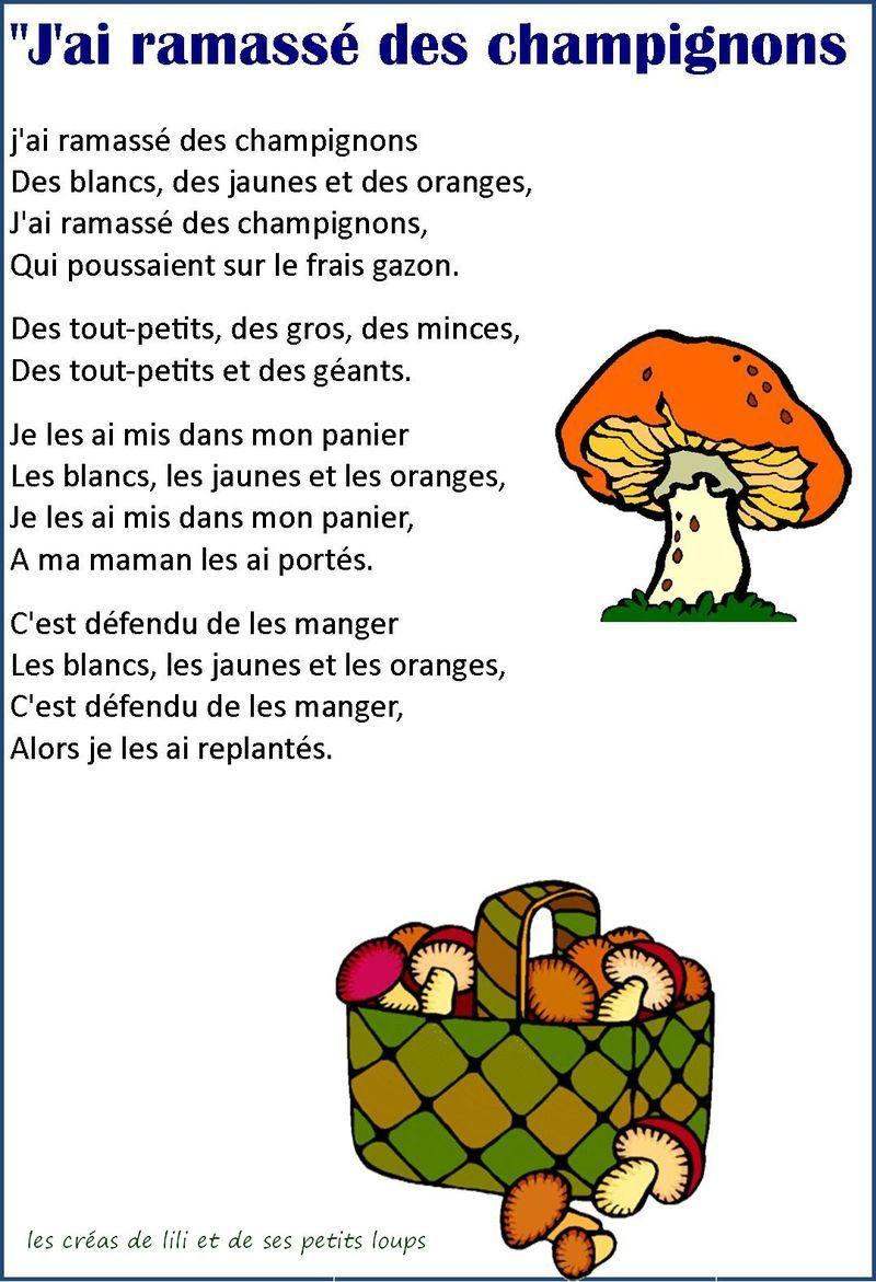 J'Ai Ramassé Des Champignons - Recherche Google (Avec serapportantà Comptine Parole Laine Des Moutons