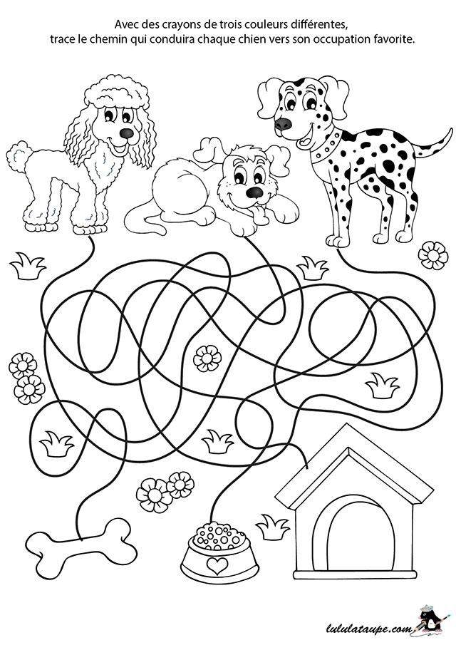 Jeu De Labyrinthe Gratuit, Les Chiens - Lulu La Taupe tout Jeux Coloriage Enfant