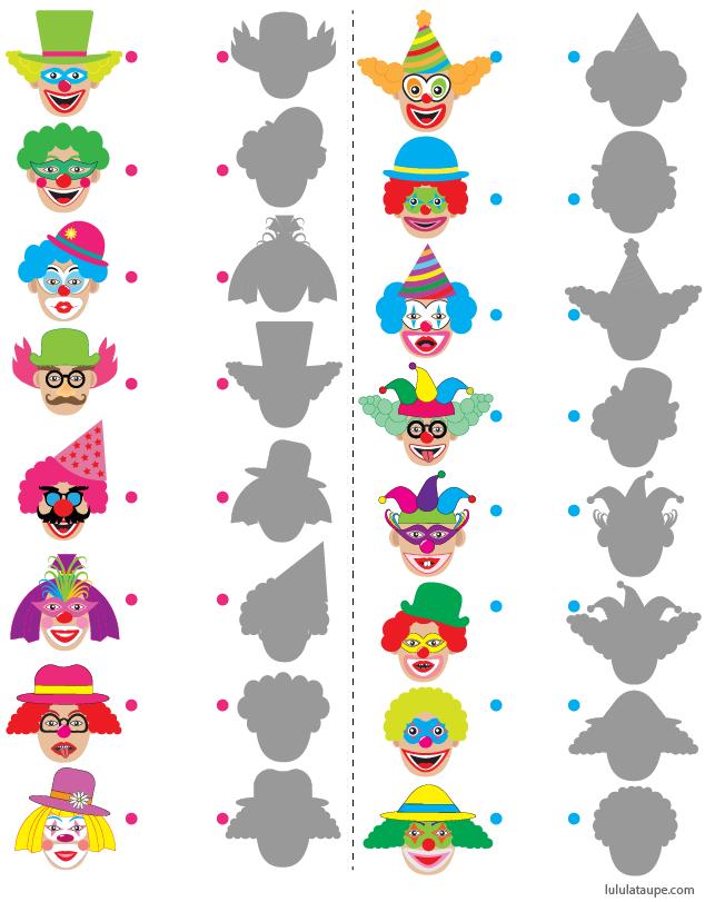 Jeu Des Ombres Gratuit À Imprimer, Les Clowns | Carnaval tout Jeux De Clown Tueur Gratuit
