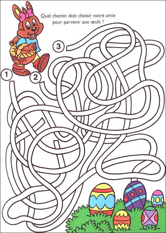 Jeu Du Labyrinthe À Imprimer | Jeux De Paques, Idées Pour dedans Coloriage Magique Paques Imprimer