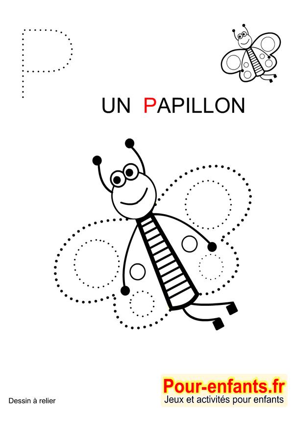Jeux À Imprimer Maternelle Jeu Dessins A Relier Enfants De pour Papillon Alphabet Point ? Relier Coloring