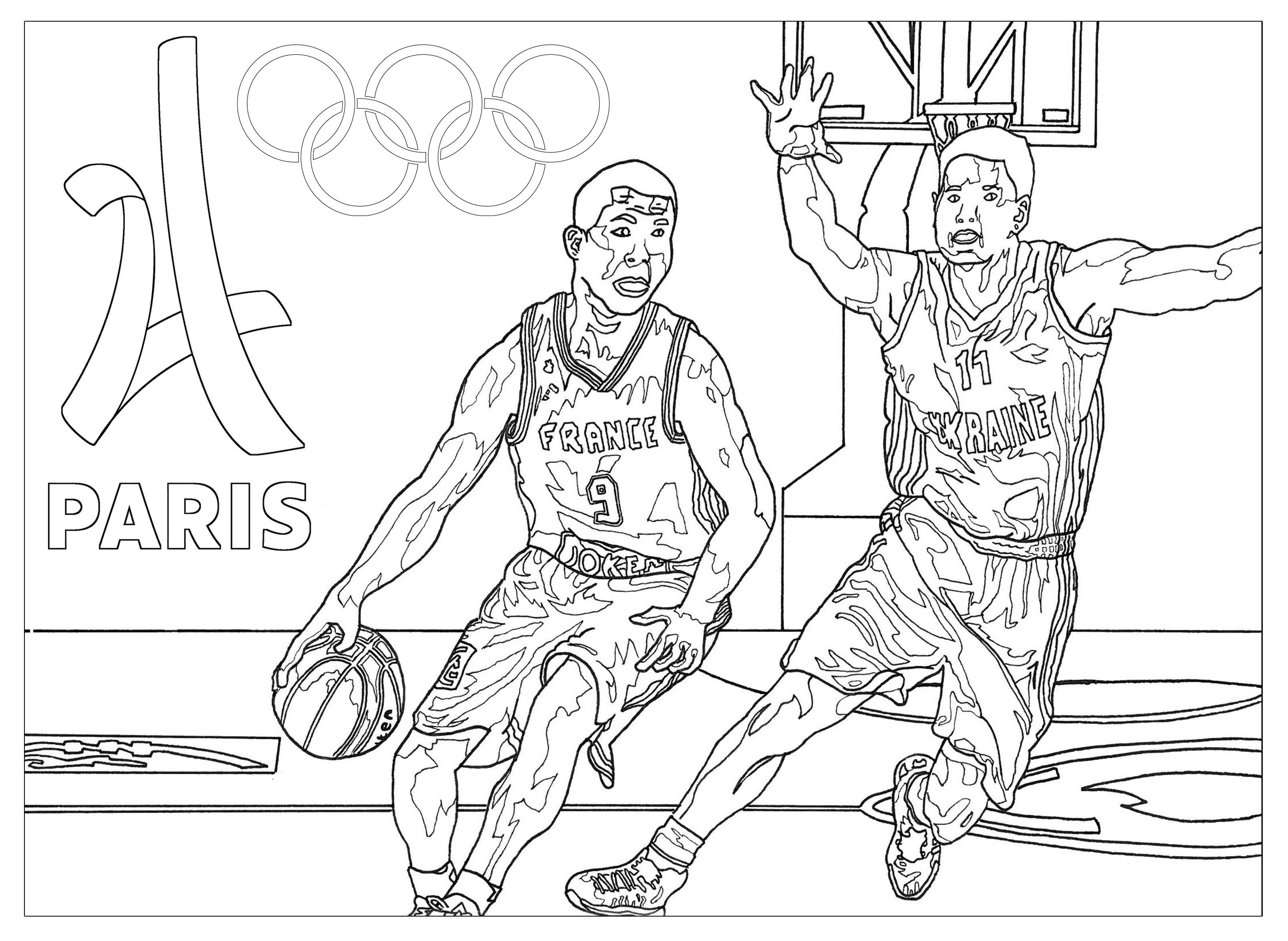 Jeux Olympiques Basketball - Coloriage Sur Les Jeux encequiconcerne Jeux Coloriage