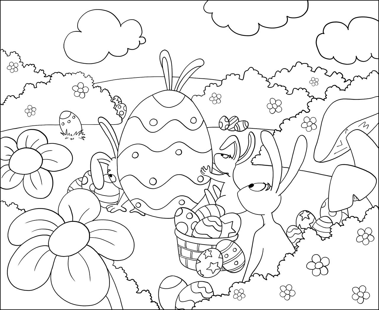 Jeux Pour Enfant Coloriage De Lapins Et D'Oeufs De Paques dedans Dessin A Imprimer Pour Colorier