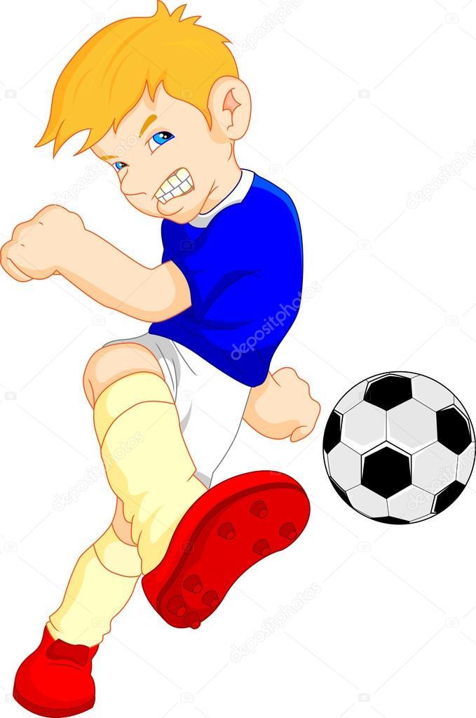Joueur De Foot Garçon Dessin Animé — Image Vectorielle avec Dessin Animé De Foot