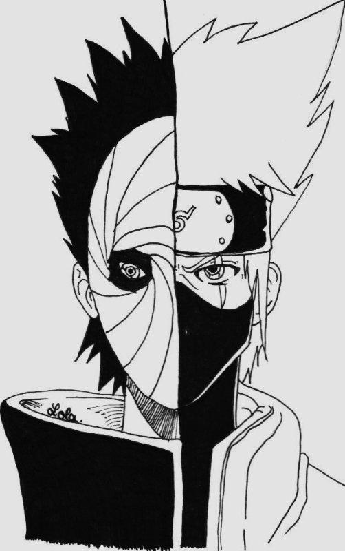 Kakashi Et Tobi ~ Naruto Shippuden. - Otakus! dedans Dessin De Naruto Shippuden A Imprimer
