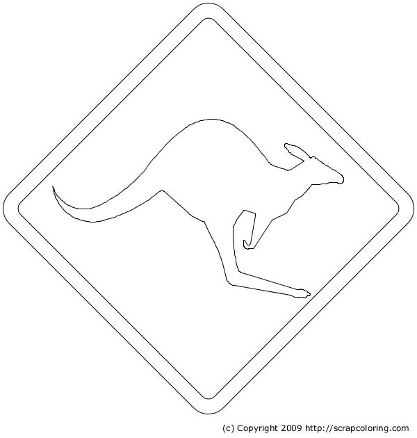 Kangaroo Warning Sign | Australian Road Signs, Kangaroo serapportantà Drapeau Australie À Colorier