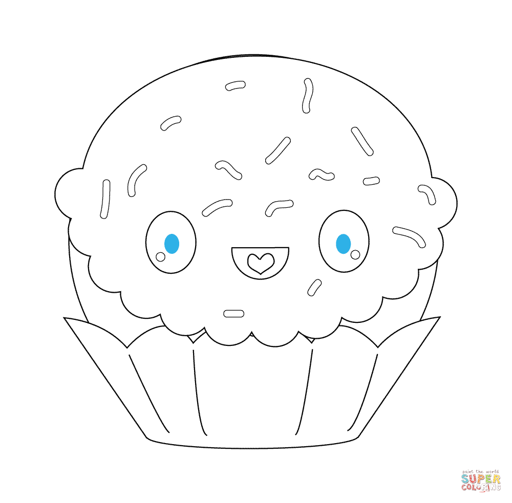 Kawaii Cupcake With Sparkles Coloring Page | Free à Coloriage De Cupcake