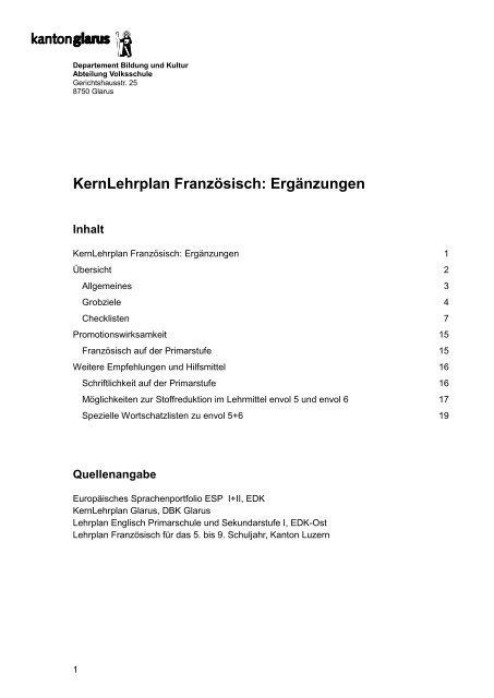 Kernlehrplan Franzã¶Sisch: Ergã¤Nzungen - Kanton Glarus avec Kernlehrplan