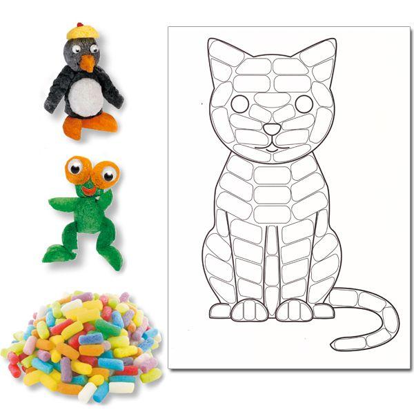 """Kit De 100 Flocons """"Playmaïs"""" + 1 Carte À Décorer """"Chat serapportantà Kit Coloriage Enfant"""