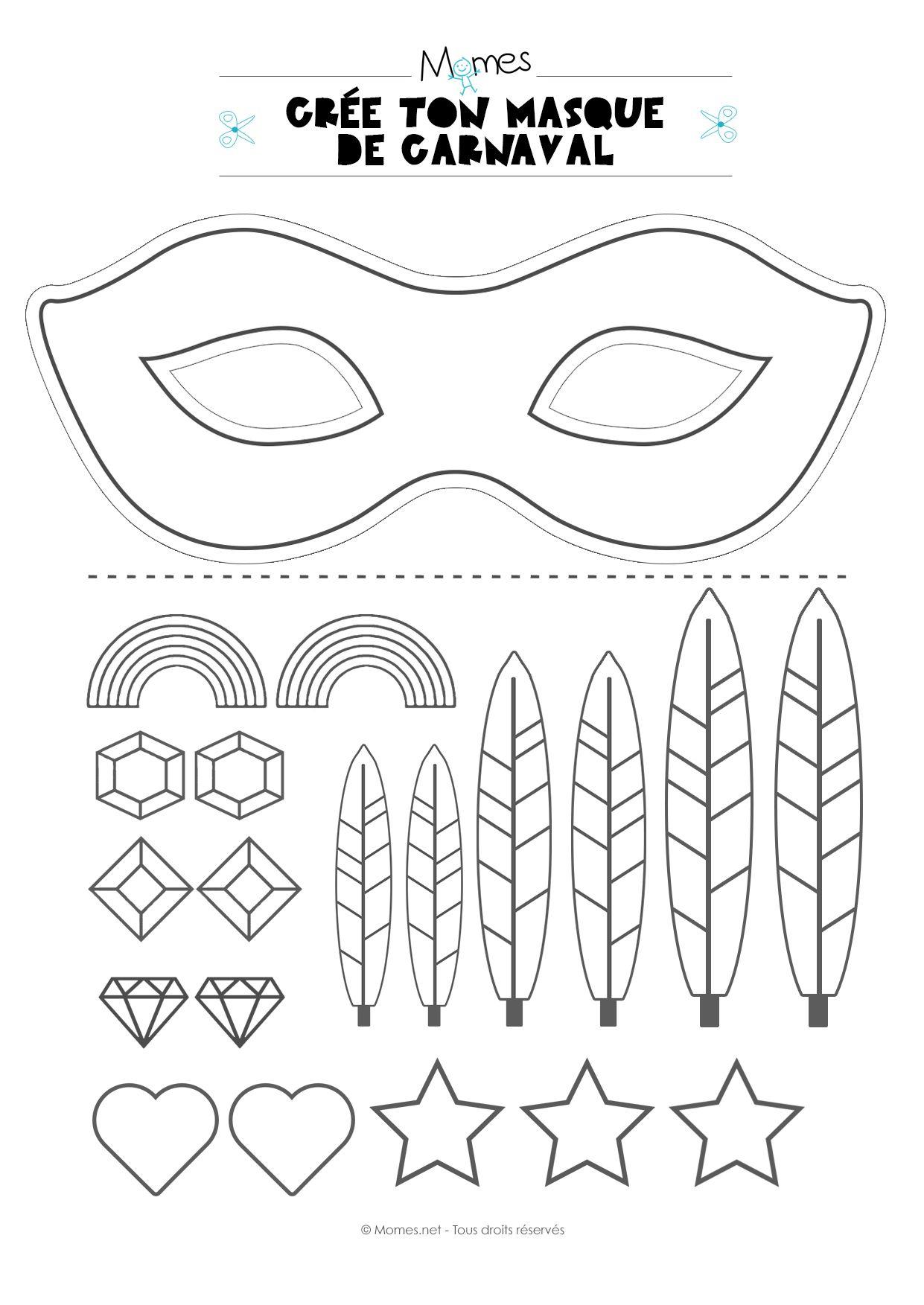Kit Pour Faire Un Masque De Carnaval   Carnaval, Masque intérieur Masque Enfant A Imprimer