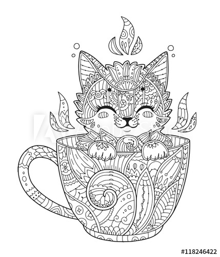 Kitten In Cup. Adult Antistress Coloring Page With Cat In à Coloriage Anti Stress