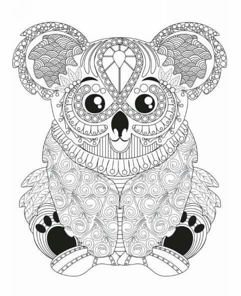 Koala Coloring Page | Adult Coloring Animals, Animal avec Coloriage De Koala