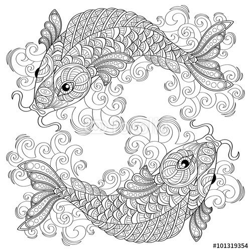 Koi Fish. Chinese Carps. Adult Antistress Coloring Page intérieur Coloriage Anti Stress