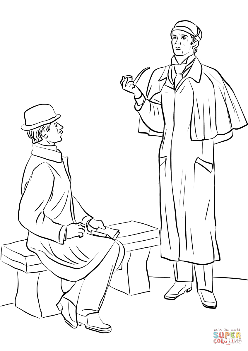Kolorowanka Sherlock Holmes | Kolorowanki Dla Dzieci Do Druku destiné Dessin De Sherlock Holmes