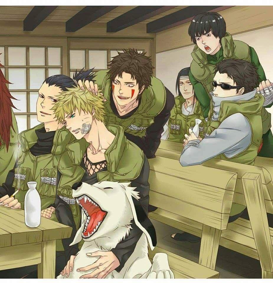 Konoha'S Shinobis: Naruto, Shikamaru, Kiba, Shino, Rock à Dessin De Shino Shippuden En Couleur