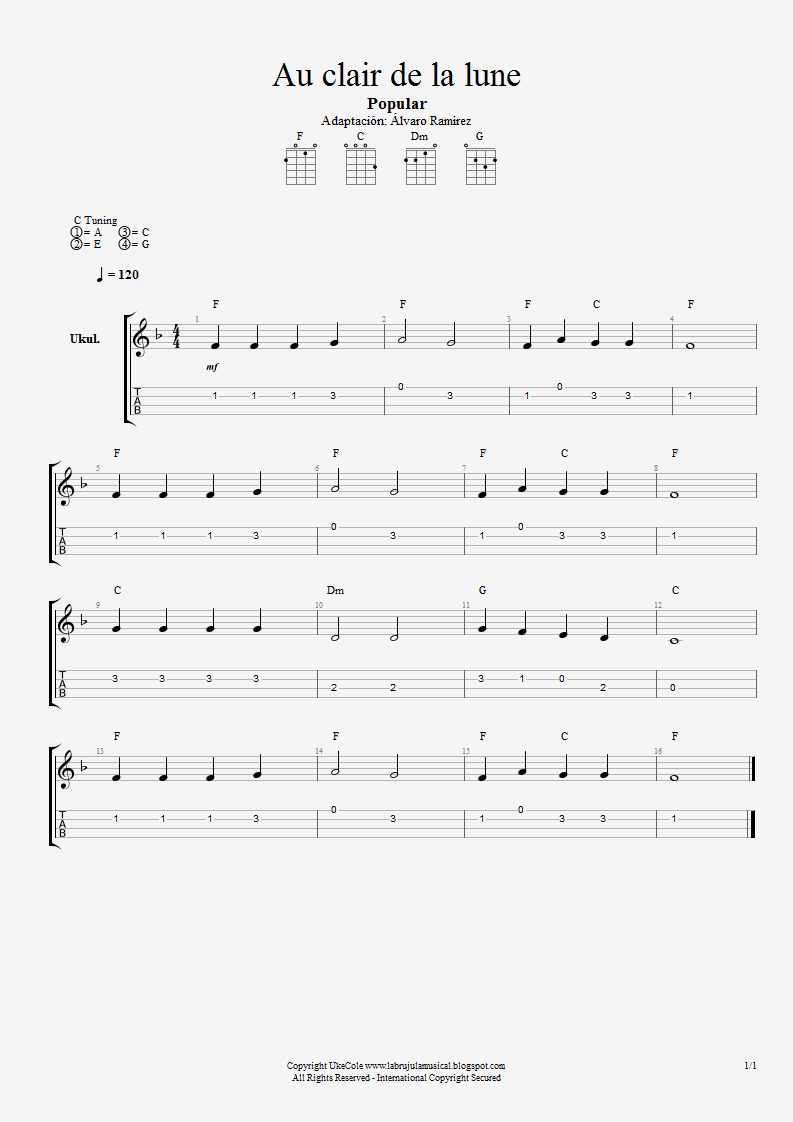 La Brújula Musical: Noviembre 2013 tout Au Clair De La Lune Lyrics Hiro