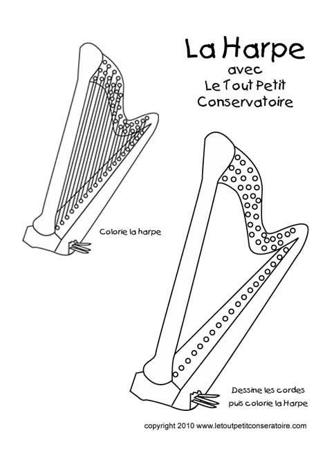 La Harpe Classique, Coloriage Musique. | Dibujos pour Dessin Harpe